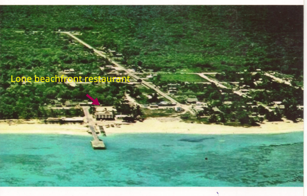 photo of Playa del Carmen in 1974. Only one restaurant. Ferry dock shown