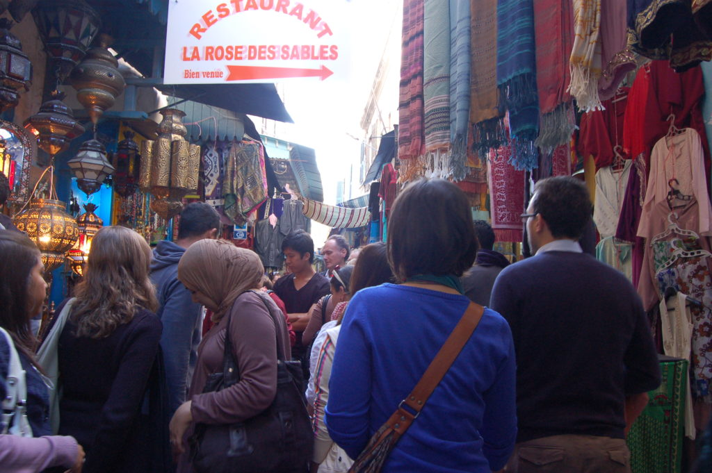 shopping in the crowded Medina of Tunis