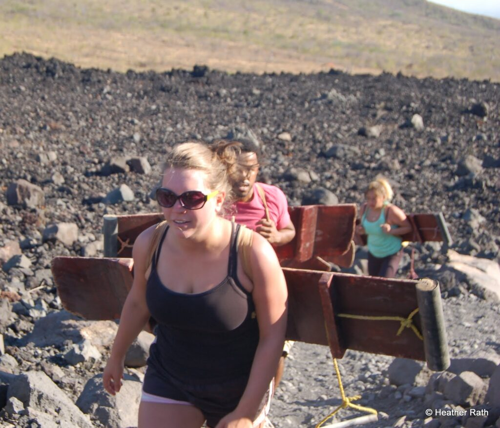 Volcan boarders on their way up Cerro Negro.