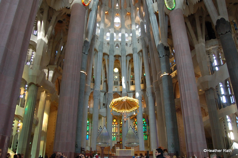 View of the altar area of La Sagrada Familia.