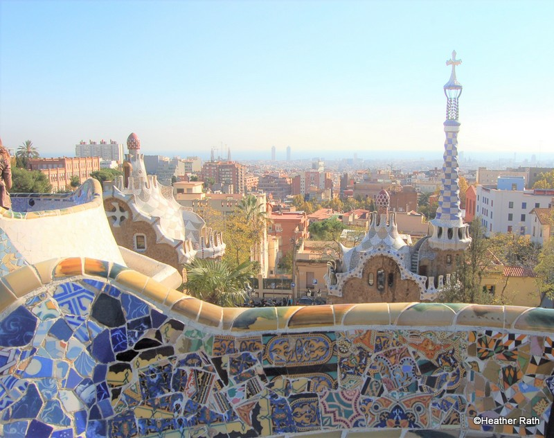 View from Park Güell overlooks Barcelona towards the Mediterranean Sea.
