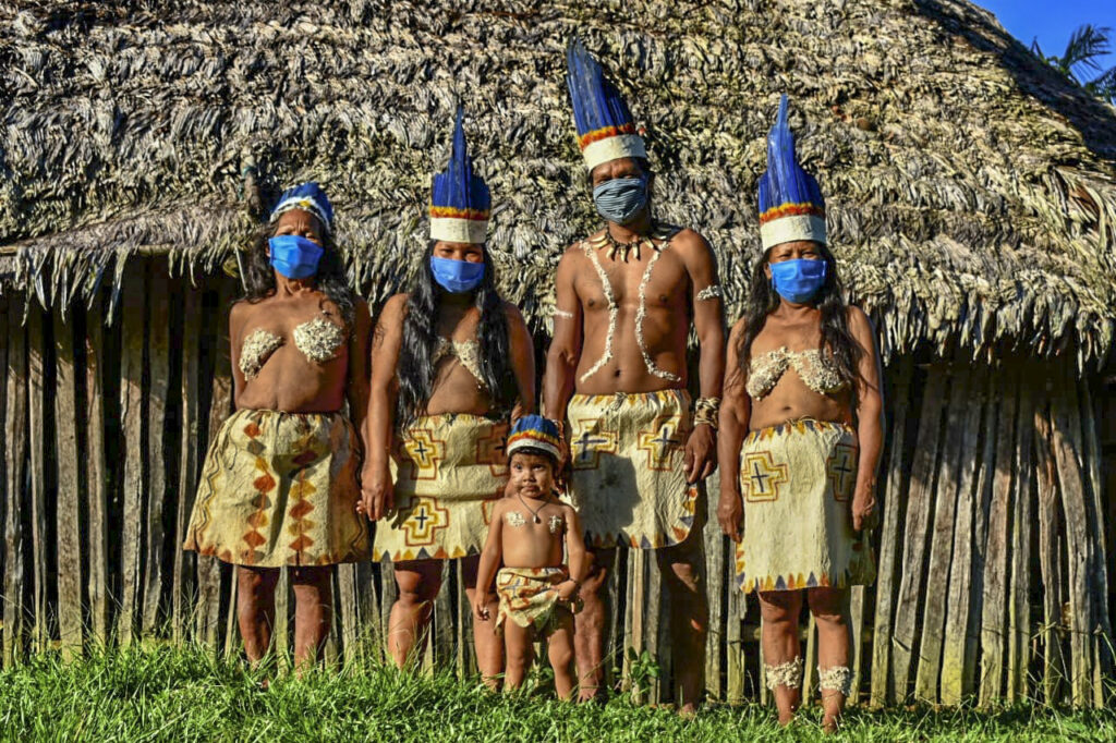 Amazon family with protective masks