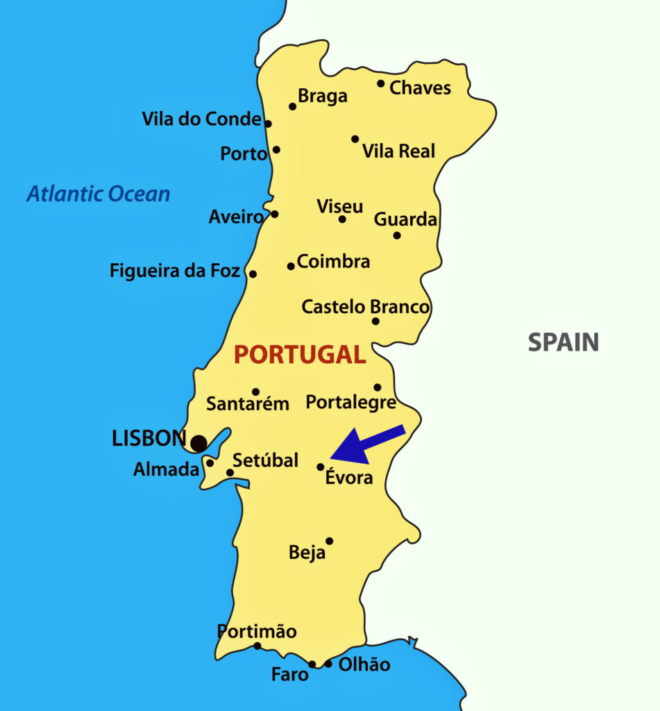 map of the Portugal showing Évora