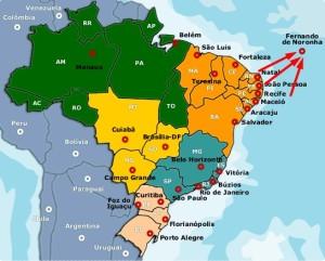 Map of Brazil showing Fernando de Noronha