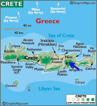 Arrow shows location of cave of Zeus