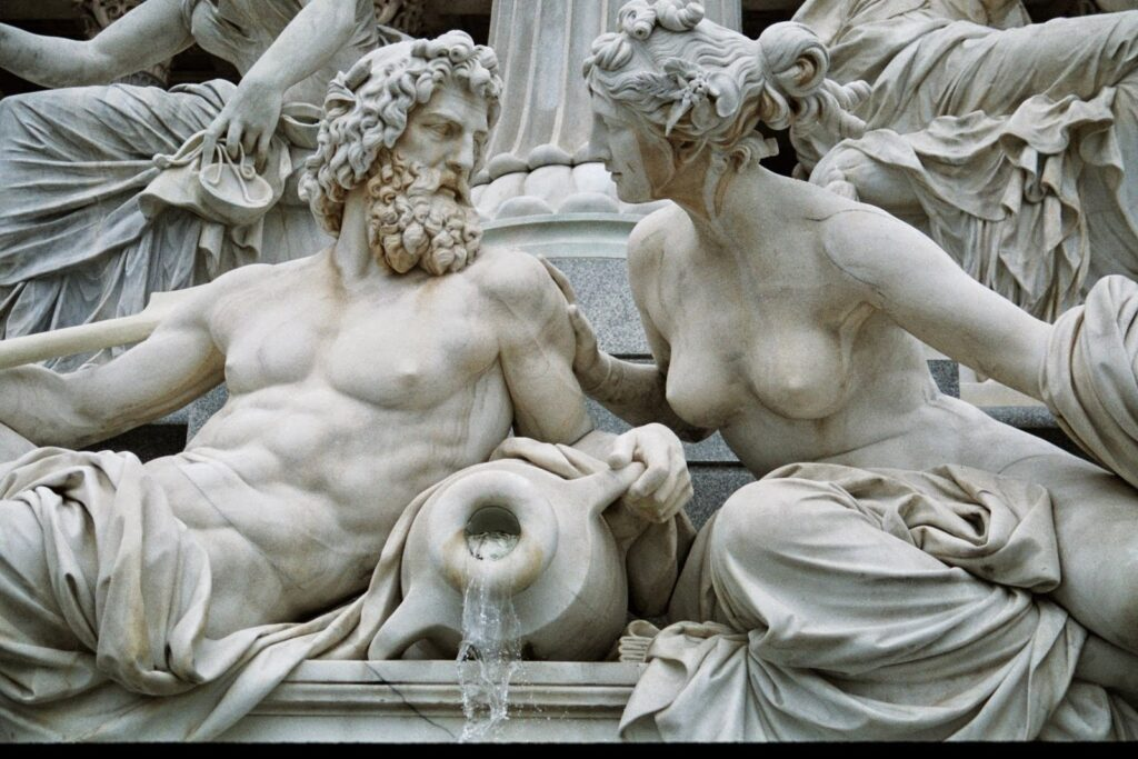 Sculpture of Zeus and his lover