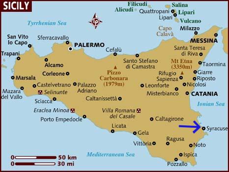 Sicily showing Syracusa and adjacent Ortigia